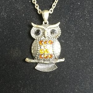 Bronze Vintage Owl  necklace with rhinstones